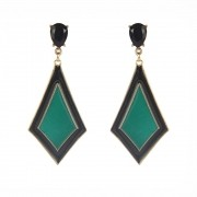 Brinco Armazem RR Bijoux geometrico preto e verde