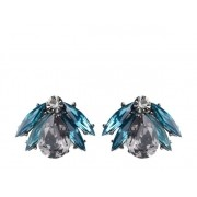 Brinco Armazem RR Bijoux tipo leque navete cristal azul grafite