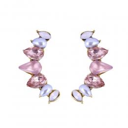 Brinco Ear Cuff Armazem RR Bijoux cristais rose dourado