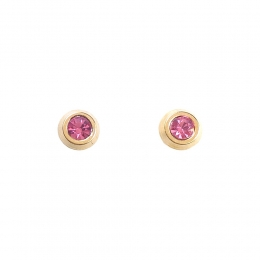 Brinco Infantil Armazem RR Bijoux cristal rosa dourado