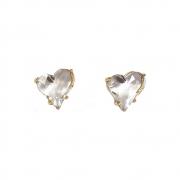 Brinco pequeno Armazem RR Bijoux coração cristal Swarovski dourado