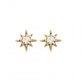 Brinco pequeno Armazem RR Bijoux estrela com cristal dourado