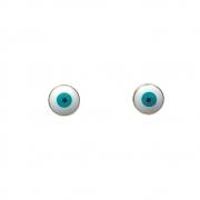 Brinco pequeno Armazem RR Bijoux olho grego dourado