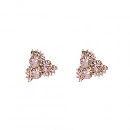 Brinco pequeno Armazem RR Bijoux triangular cristais rose dourado
