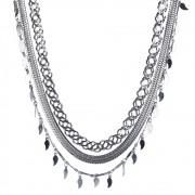 Colar Armazem RR Bijoux curto corrrentes prata