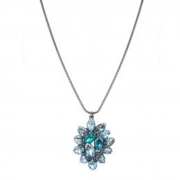 Colar Armazem RR Bijoux curto cristal azul grafite