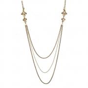 Colar Armazem RR Bijoux fio brilhoso com correntes e cristais dourado