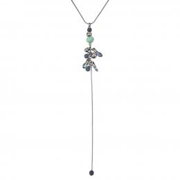 Colar Armazem RR Bijoux gravatinha cristal azul e turquesa