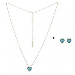 Conjunto Colar e Brinco Armazem RR Bijoux coração cristal verde dourado