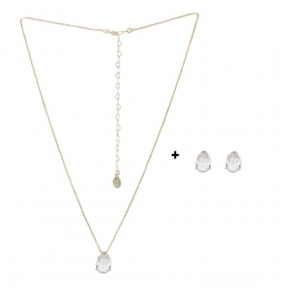 Conjunto Colar e Brinco Armazem RR Bijoux gota cristal dourado