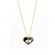 Colar curto Armazem RR Bijoux olho grego cristal Swarovski azul dourado
