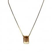 Colar curto Armazem RR Bijoux pedra Swarovski quadrada dourado
