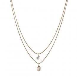 Colar duplo Armazem RR Bijoux cristais dourado