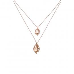 Colar duplo Armazem RR Bijoux cristais gota rose