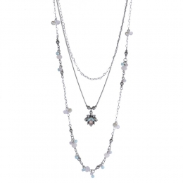 Colar longo Armazem RR Bijoux cristais coloridos prata