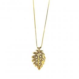 Colar longo Armazem RR Bijoux folha com cristais Swarovski dourado