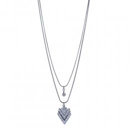Colar longo duplo Armazem RR Bijoux cristais prata