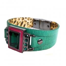 Pulseira Armazem RR Bijoux couro cristal rosa e verde