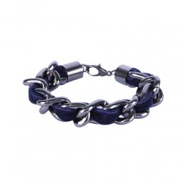Pulseira Armazem RR Bijoux corrente com tecido azul grafite