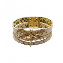 Pulseira Armazem RR Bijoux couro bege libélula dourado