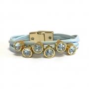 Pulseira Armazem RR Bijoux couro cristais azul