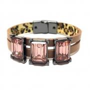 Pulseira Armazem RR Bijoux couro cristais quadrados rose