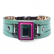 Pulseira Armazem RR Bijoux couro cristal quadrado verde e rosa