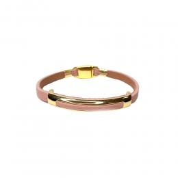 Pulseira Armazém RR Bijoux couro metal dourado rose