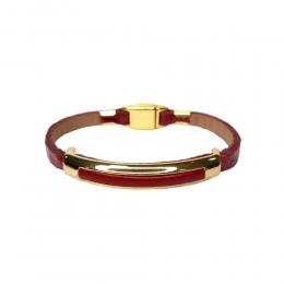 Pulseira Armazém RR Bijoux couro metal dourado vermelha