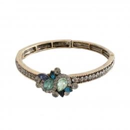 Pulseira Armazem RR Bijoux fio de strass cristais verde e azul dourado
