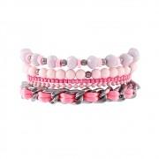 Pulseira Armazem RR Bijoux mix corrente e bolinhas rosa grafite