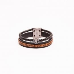 Pulseira couro Armazem RR Bijoux masculina cruz preta e marrom