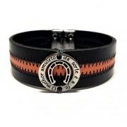 Pulseira masculina Armazem RR Bijoux couro amuleto preta e laranja
