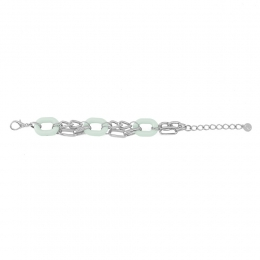 Pulseira resinada Armazem RR Bijoux correntes verde claro prata