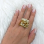 Anel Armazem RR Bijoux pingentes cristais Swarovski dourado