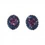 Brinco Armazem RR Bijoux cristais azul e rosa prata