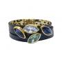 Pulseira Armazem RR Bijoux couro navetes de cristais azul