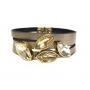 Pulseira Armazem RR Bijoux couro navetes de cristais dourada