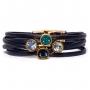 Pulseira couro Armazem RR Bijoux cristais azul marinho