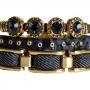 Pulseira couro Armazem RR Bijoux jeans azul marinho