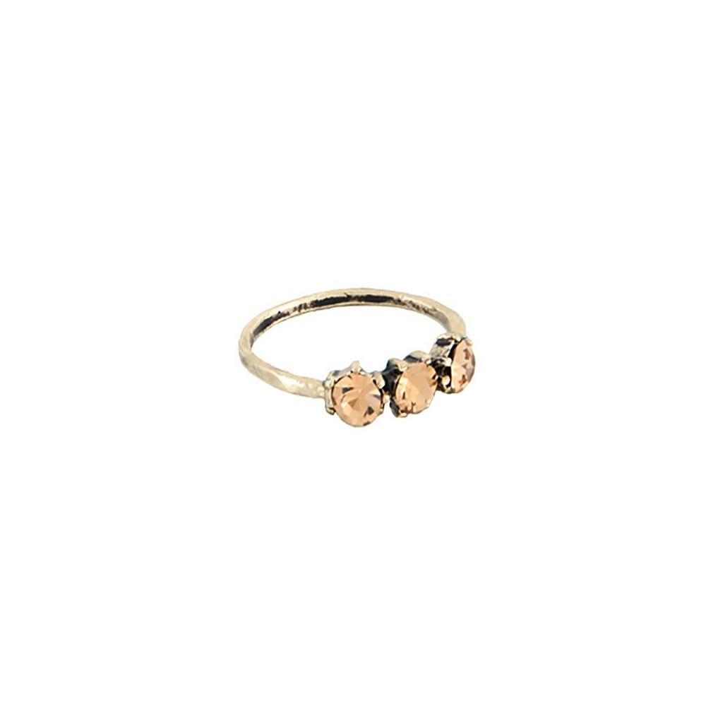 Anel Armazem RR Bijoux 3 cristais ouro velho