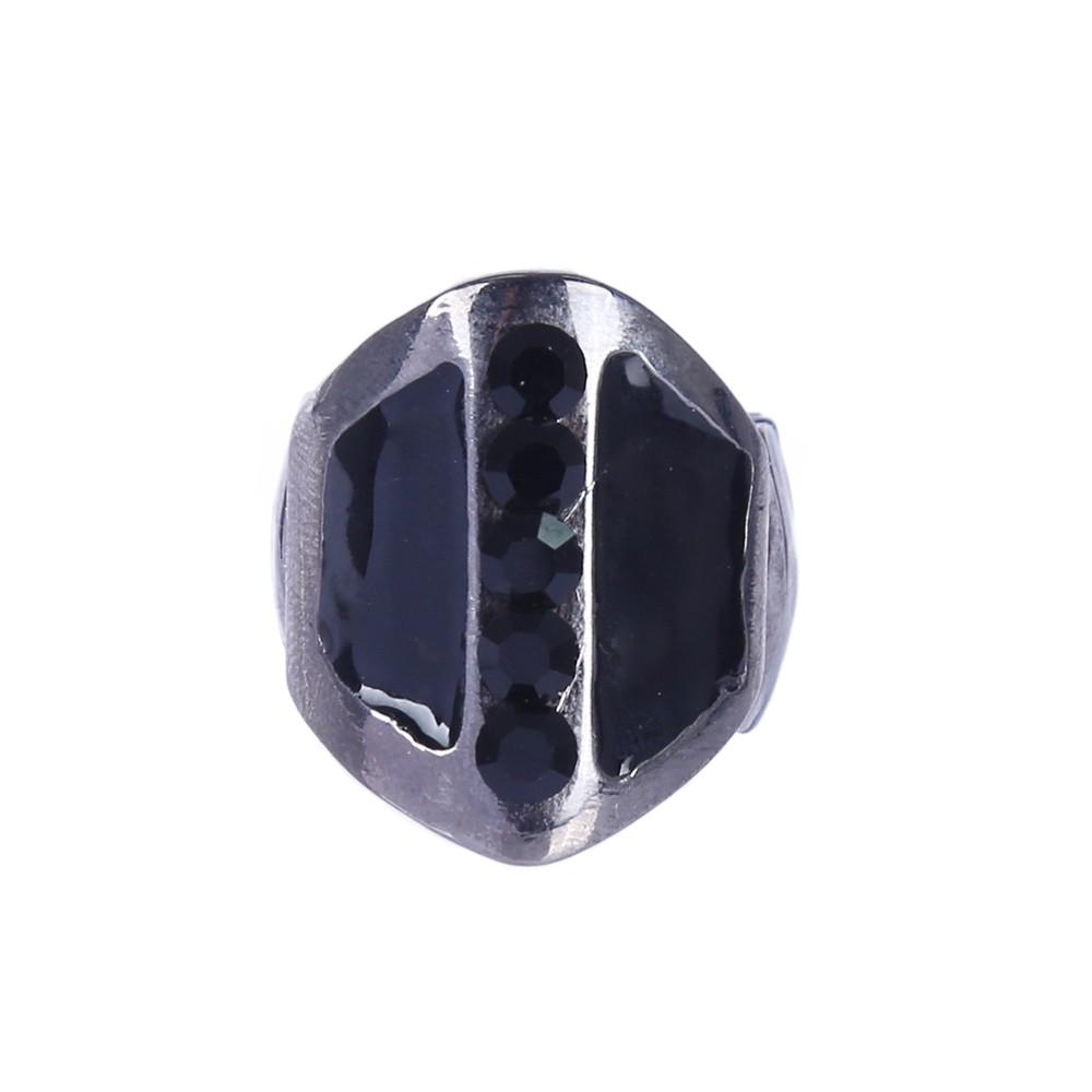 Anel Armazem RR Bijoux com cristais preto grafite