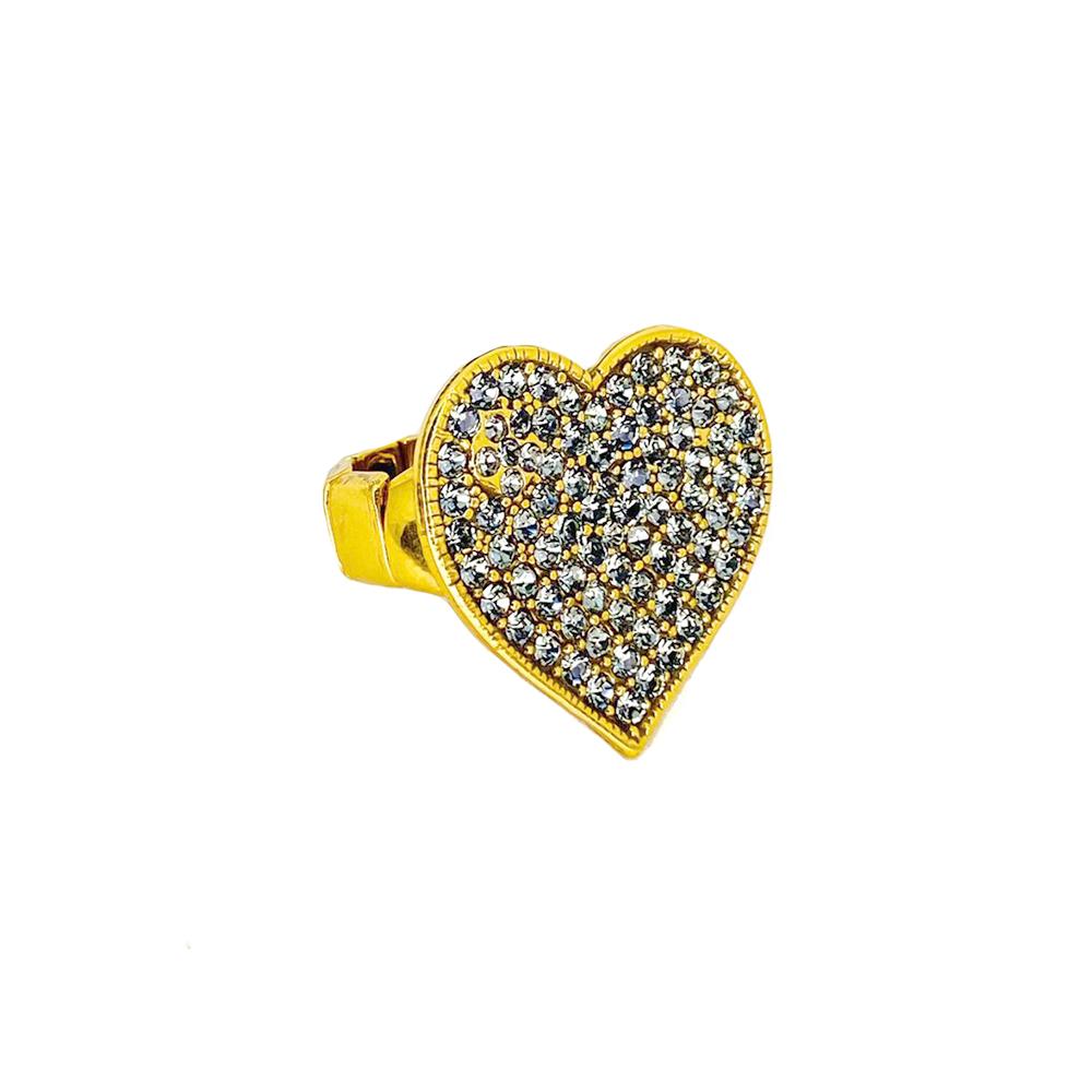 Anel Armazem RR Bijoux coração cristais cravejados Swarovski dourado
