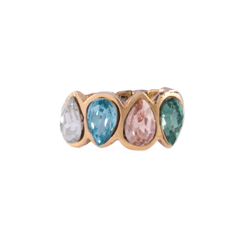 Anel Armazem RR Bijoux cristais coloridos dourado