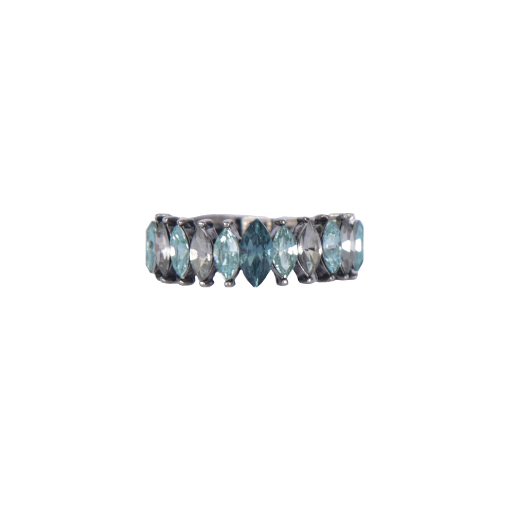 Anel Armazem RR Bijoux cristais nevete azul prata