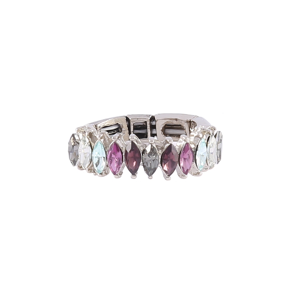 Anel Armazem RR Bijoux cristais nevetes coloridos prata