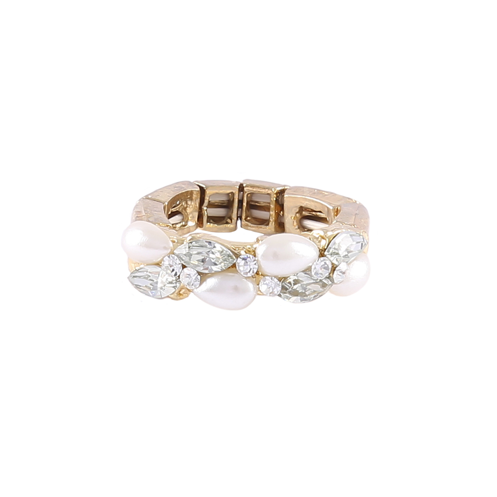 Anel Armazem RR Bijoux cristais pérola gota dourado