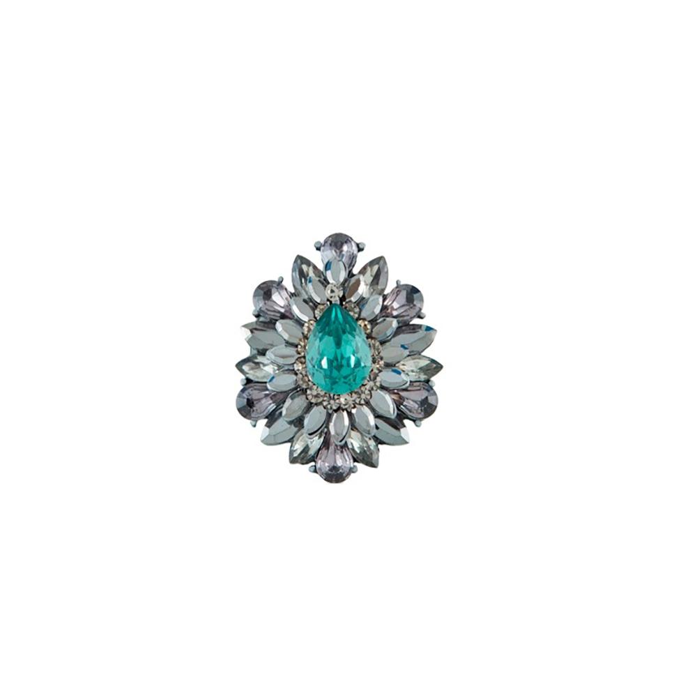 Anel Armazem RR Bijoux cristal gota verde grafite