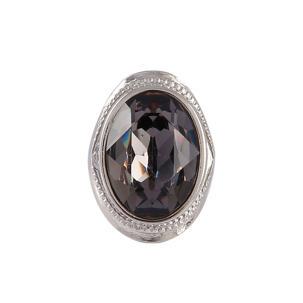 Anel Armazem RR Bijoux cristal grafite prata