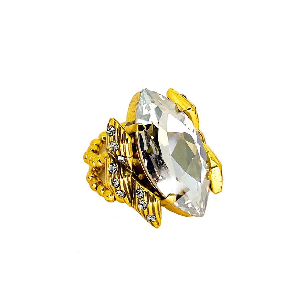 Anel Armazem RR Bijoux cristal nevete Swarovski dourado